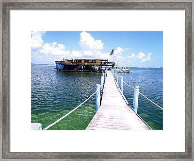 Stiltsville Dock Framed Print by Carey Chen