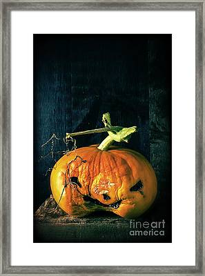 Stingy Jack - Scary Halloween Pumpkin Framed Print by Edward Fielding