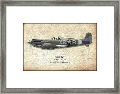 Stinky Duane Beeson Spitfire - Map Background Framed Print by Craig Tinder