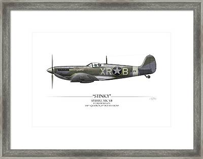 Stinky Duane Beeson Spitfire - White Background Framed Print by Craig Tinder
