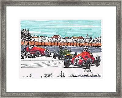 Stirling Moss Ferrari Grand Prix Of Italy Framed Print
