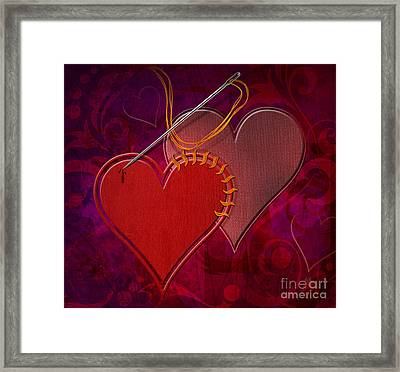 Stitched Hearts Framed Print by Bedros Awak