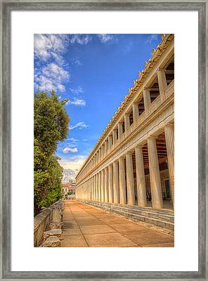 Framed Print featuring the photograph Stoa Of Attalos by Micah Goff