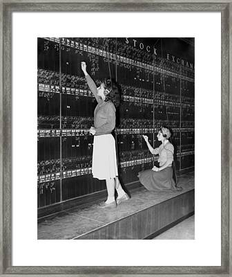 Stock Exchange Hires Women Framed Print