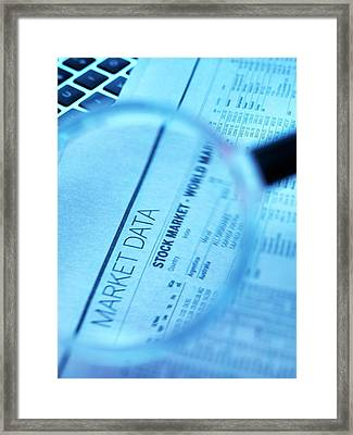 Stock Market Figures And Magnifying Glass Framed Print by Tek Image