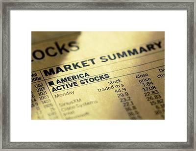 Stock Prices In The Newspaper Framed Print by Wladimir Bulgar