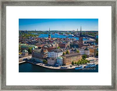 Stockholm From Above Framed Print by Inge Johnsson