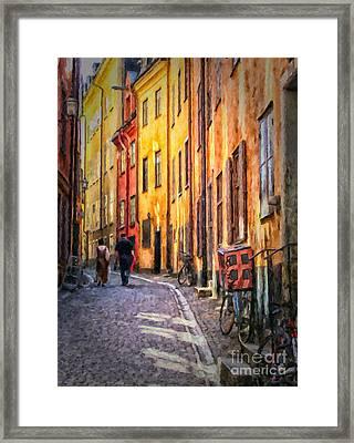 Stockholm Gamla Stan Painting Framed Print by Antony McAulay