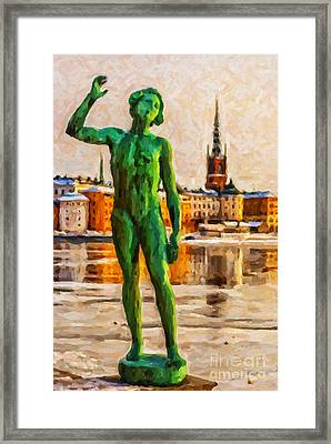 Stockholm Statue Digital Painting Framed Print by Antony McAulay