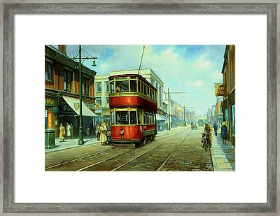 Stockport Tram. Framed Print by Mike  Jeffries