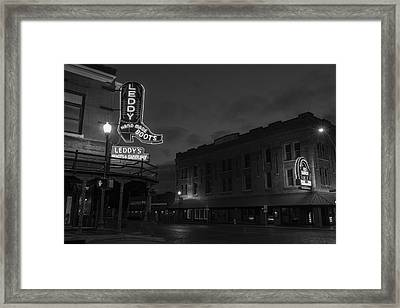 Stockyards Main And Exchange Bw Framed Print