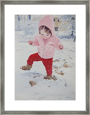 Stomping In The Snow Framed Print