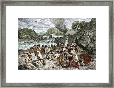 Stone-age Feast Framed Print by Sheila Terry