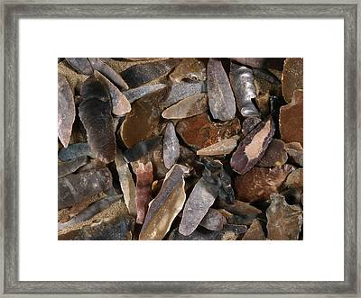Stone-age Flint Fragments Framed Print by Science Photo Library