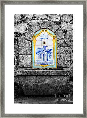 Stone And Ceramic Water Fountain Framed Print by James Brunker