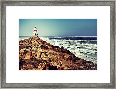 Framed Print featuring the photograph Stone And Ice At Wisconsin Point by Mark David Zahn Photography