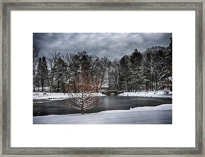 Stone Arch Bridge In Winter Framed Print by Tricia Marchlik