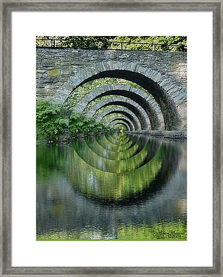 Stone Arch Bridge Over Troubled Waters - 1st Place Winner Faa Optical Illusions 2-26-2012 Framed Print by EricaMaxine  Price