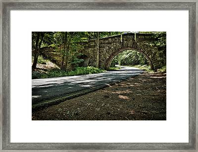 Stone Arch Bridge Stanley Brook Drive Acadia National Park Framed Print by Jeff Sinon