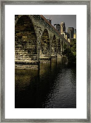 Stone Arch Bridge With Minneapolis Skyline Framed Print