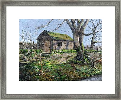 Stone Barn, Alport, Derbyshire, 2009 Oil On Canvas Framed Print