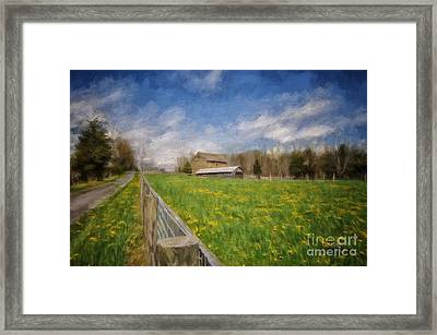 Stone Barn On A Spring Morning Framed Print by Lois Bryan