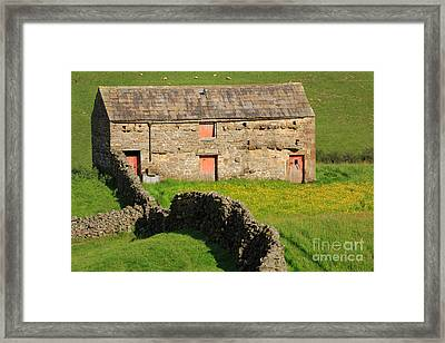 Stone Barn With Red Doors In Swaledale Yorkshire Dales Framed Print
