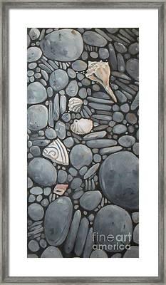 Stone Beach Keepsake Rocky Beach Shells And Stones Framed Print by Mary Hubley