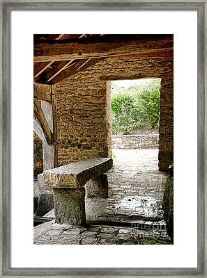 Stone Bench Framed Print