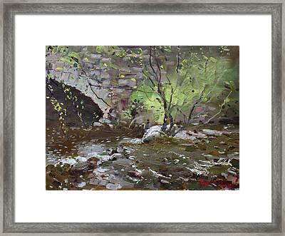 Stone Bridge At Three Sisters Islands Framed Print by Ylli Haruni