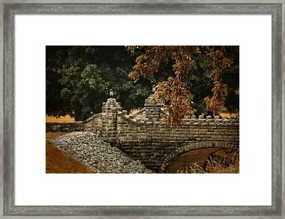 Stone Bridge In Autumn Framed Print by Jai Johnson