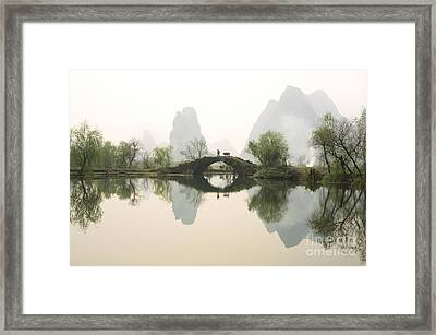 Stone Bridge In Guangxi Province China Framed Print by King Wu