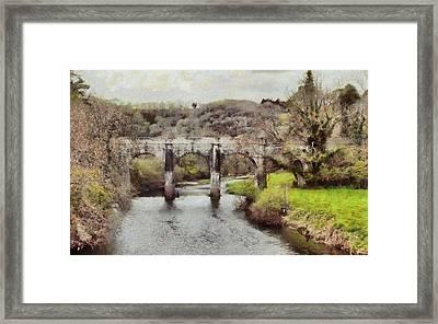 Framed Print featuring the digital art Stone Bridge by Kai Saarto