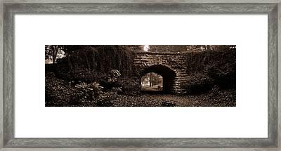Stone Bridge Over A Leaf Covered Path Framed Print by Chris Bordeleau