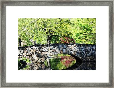 Framed Print featuring the photograph Stone Bridge Reflection by Judy Palkimas