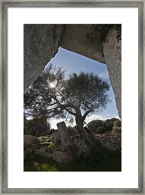 Talayotic Culture In Minorca Island - Stone Bridge Under Winter Sun Framed Print