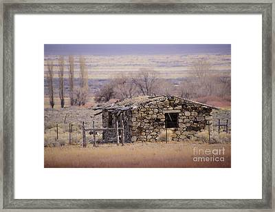 Stone Cabin In The Big Smoky Valley Framed Print by Janis Knight