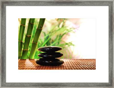 Stone Cairn Framed Print by Olivier Le Queinec