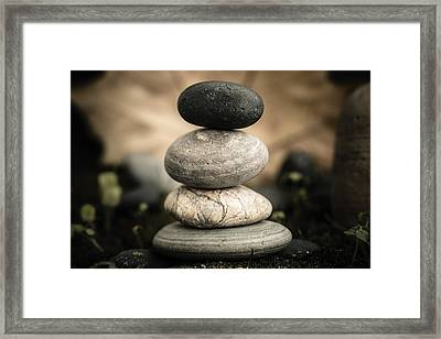Stone Cairns I Framed Print by Marco Oliveira