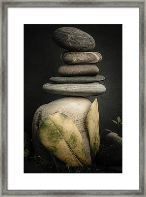 Stone Cairns V Framed Print by Marco Oliveira