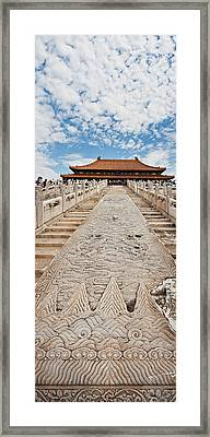 Stone Carved Stairway At Hall Framed Print by Panoramic Images