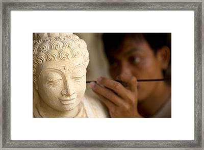 Framed Print featuring the photograph Stone Carver - Bali by Matthew Onheiber