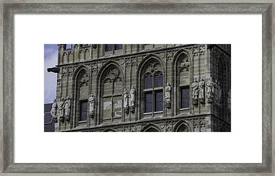 Stone Carvings On The Rathaus Tower Cologne Framed Print by Teresa Mucha