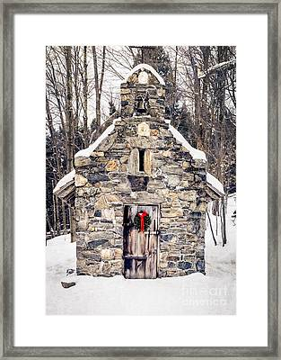 Stone Chapel In The Woods Trapp Family Lodge Stowe Vermont Framed Print by Edward Fielding