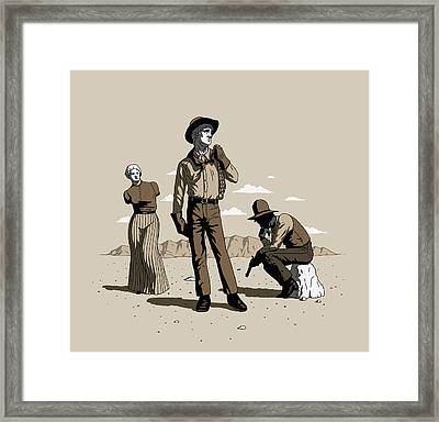 Framed Print featuring the digital art Stone-cold Western by Ben Hartnett