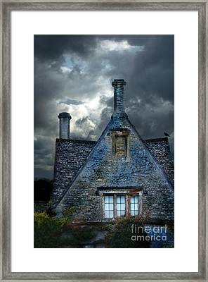 Stone Cottage In A Storm Framed Print by Jill Battaglia