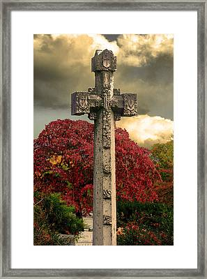 Framed Print featuring the photograph Stone Cross In Fall Garden by Lesa Fine