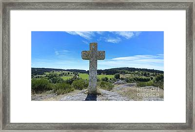 Stone Cross In Margeride. Haute Loire. France Framed Print by Bernard Jaubert