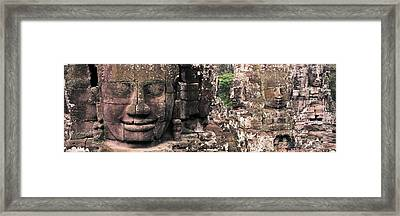 Stone Faces Bayon Angkor Siem Reap Framed Print by Panoramic Images