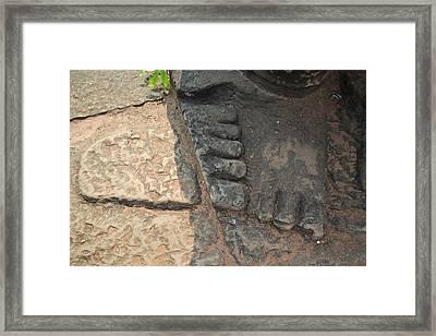 Stone Feet Cambodia Framed Print by Bill Mock